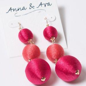 NWT Anna & Ava Ball Drop Thread Statement Earrings